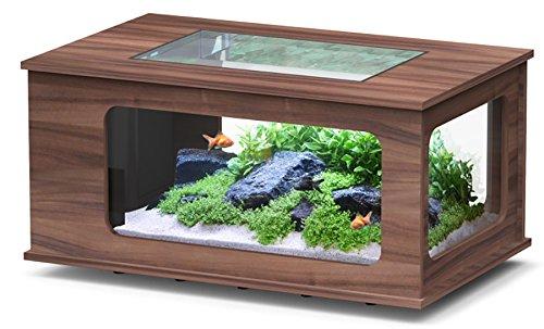 Aquarium table LED 130X75 cm noyer fonce