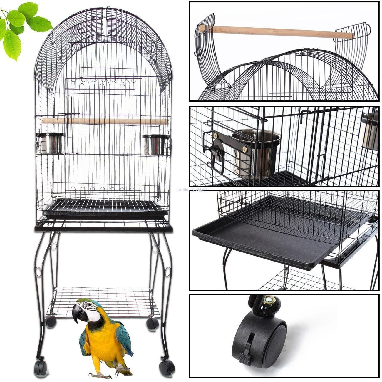 Iglobalbuy Voliere Cage Oiseaux Metal Canaries Perruches Perroquets Avec 2 Mangeoires