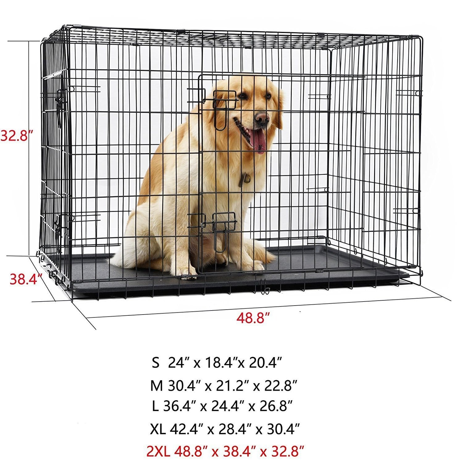 cage pliante pour chien avec 2 portes taille xxl. Black Bedroom Furniture Sets. Home Design Ideas