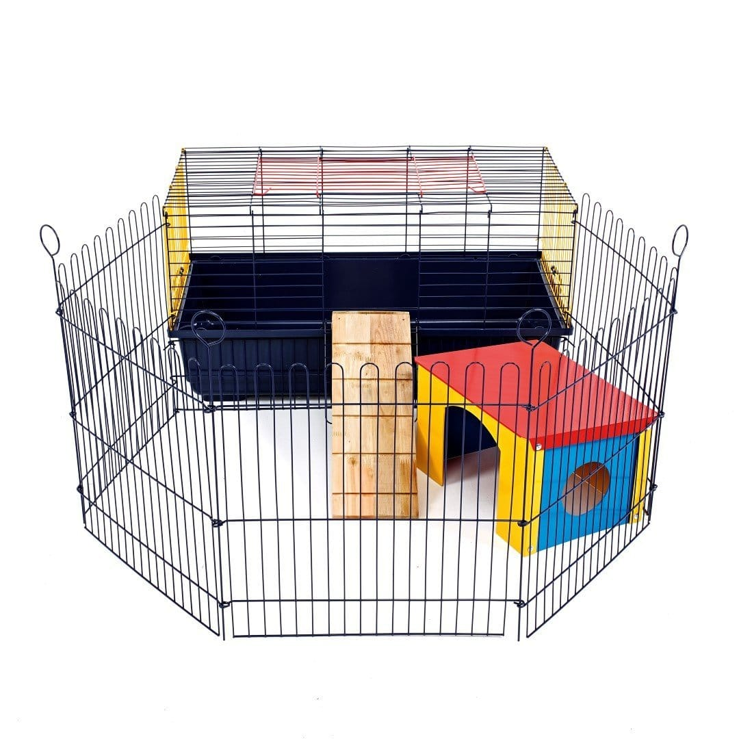cage d 39 int rieur pour lapin et cochon d 39 inde avec enclos. Black Bedroom Furniture Sets. Home Design Ideas