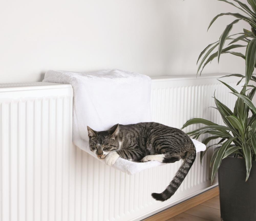 lit radiateur pour chat en peluche blanc de marque trixie. Black Bedroom Furniture Sets. Home Design Ideas
